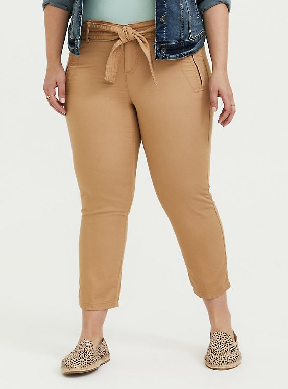 Self Tie Crop Utility Pant - Twill Khaki Brown, , hi-res