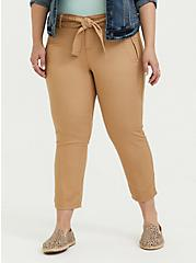 Self Tie Crop Utility Pant - Twill Khaki Brown, BROWN, hi-res
