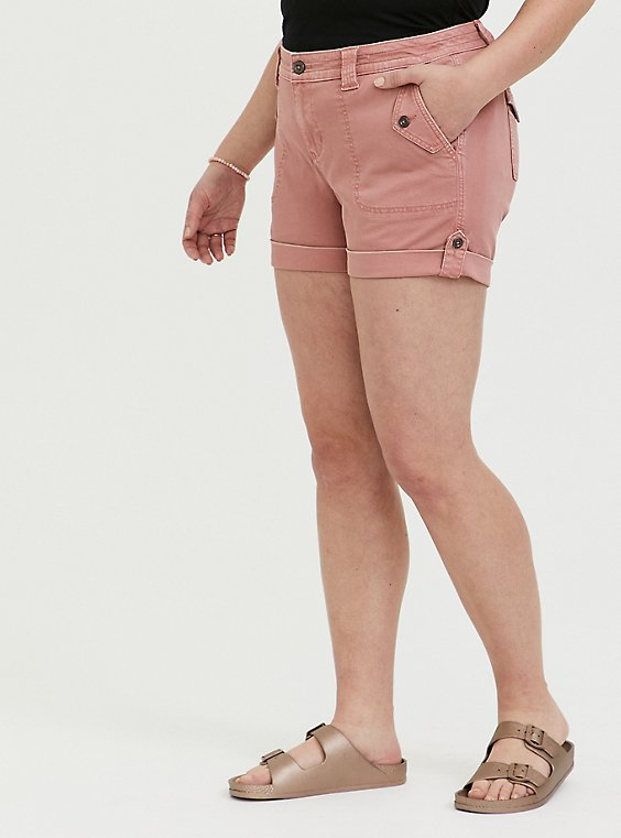 Plus Size Military Short Short - Twill Dusty Pink, , hi-res
