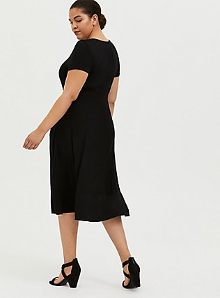 Plus Size Super Soft Black Midi Dress, DEEP BLACK, alternate