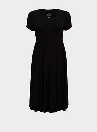 Plus Size Super Soft Black Midi Dress, DEEP BLACK, flat