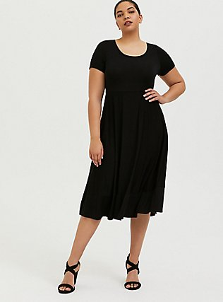 Plus Size Super Soft Black Midi Dress, DEEP BLACK, hi-res