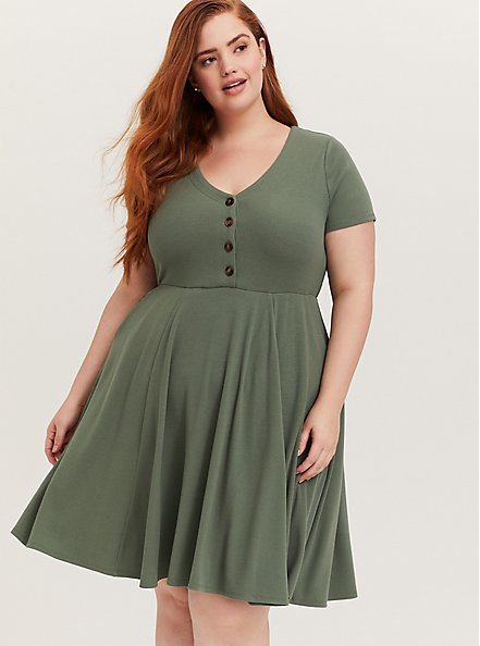 Light Olive Green Rib Button Down Skater Dress, AGAVE GREEN, alternate