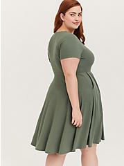 Plus Size Light Olive Green Rib Button Down Skater Dress, AGAVE GREEN, alternate