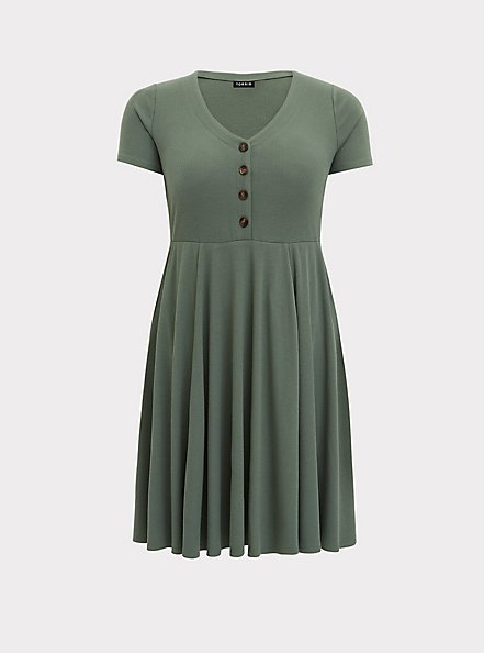 Light Olive Green Rib Button Down Skater Dress, AGAVE GREEN, hi-res