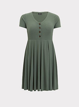 Plus Size Light Olive Green Rib Button Down Skater Dress, AGAVE GREEN, flat