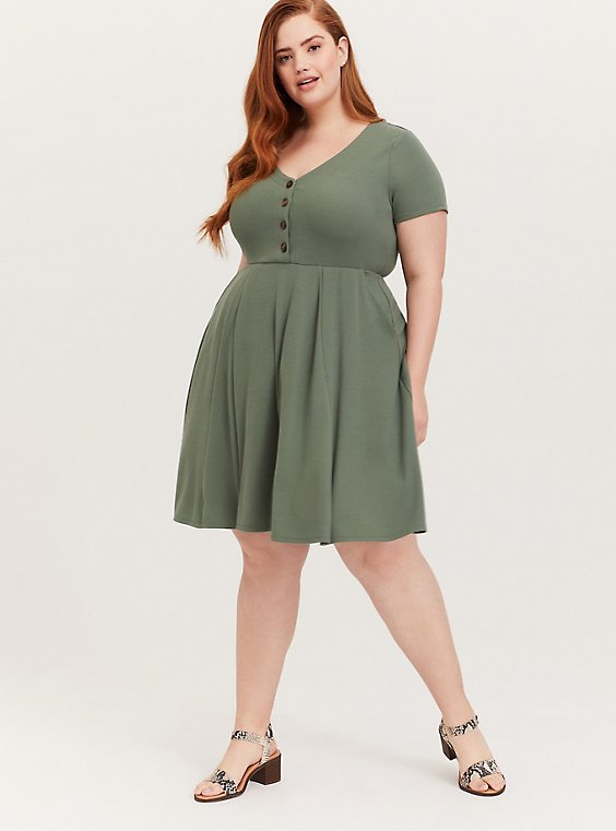Plus Size Light Olive Green Rib Button Down Skater Dress, , hi-res