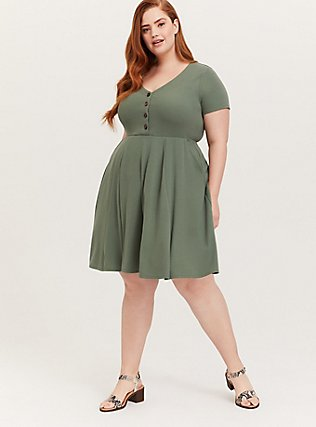 Plus Size Light Olive Green Rib Button Down Skater Dress, AGAVE GREEN, hi-res
