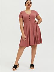 Dusty Rose Rib Button Down Skater Dress, WITHERED ROSE PINK, alternate