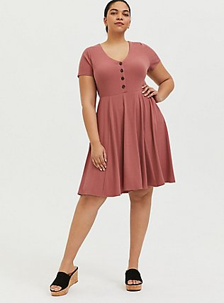 Plus Size Dusty Rose Rib Button Down Skater Dress, WITHERED ROSE PINK, alternate