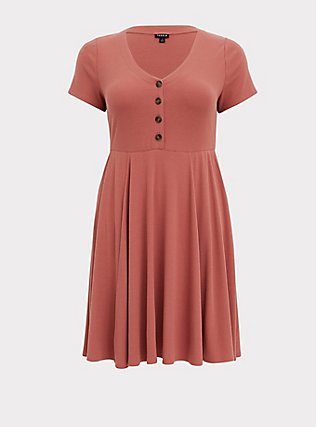Plus Size Dusty Rose Rib Button Down Skater Dress, WITHERED ROSE PINK, flat