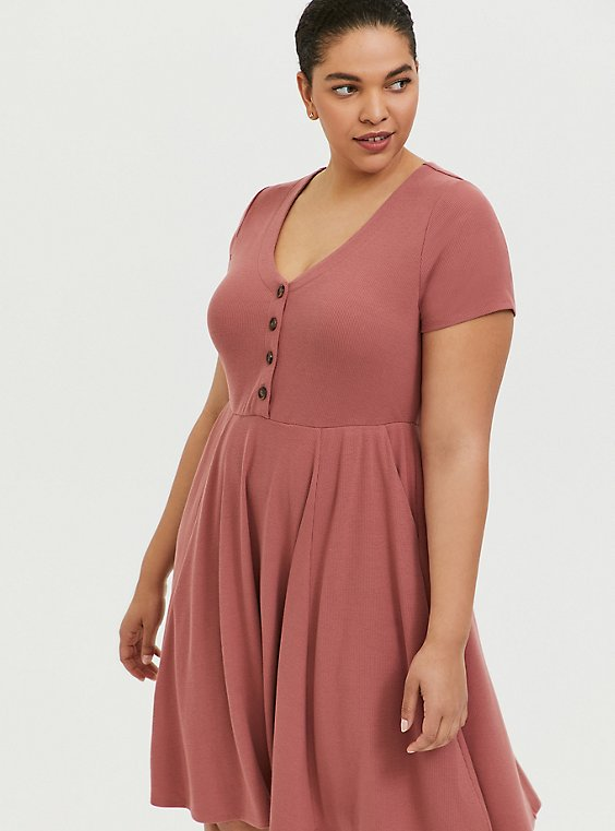 Plus Size Dusty Rose Rib Button Down Skater Dress, , hi-res