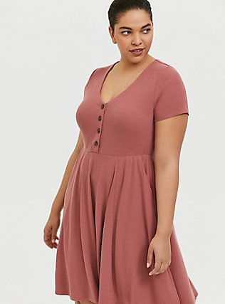 Plus Size Dusty Rose Rib Button Down Skater Dress, WITHERED ROSE PINK, hi-res