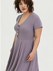 Plus Size Purple Rib Button Front Skater Dress, GRAY RIDGE, alternate