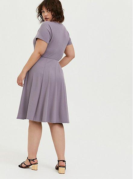 Plus Size Purple Rib Button Front Skater Dress, GRAY RIDGE, alternate