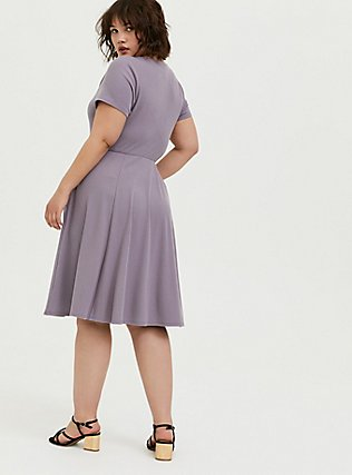 Purple Rib Button Front Skater Dress, GRAY RIDGE, alternate