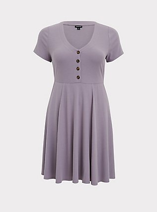 Plus Size Purple Rib Button Front Skater Dress, GRAY RIDGE, flat