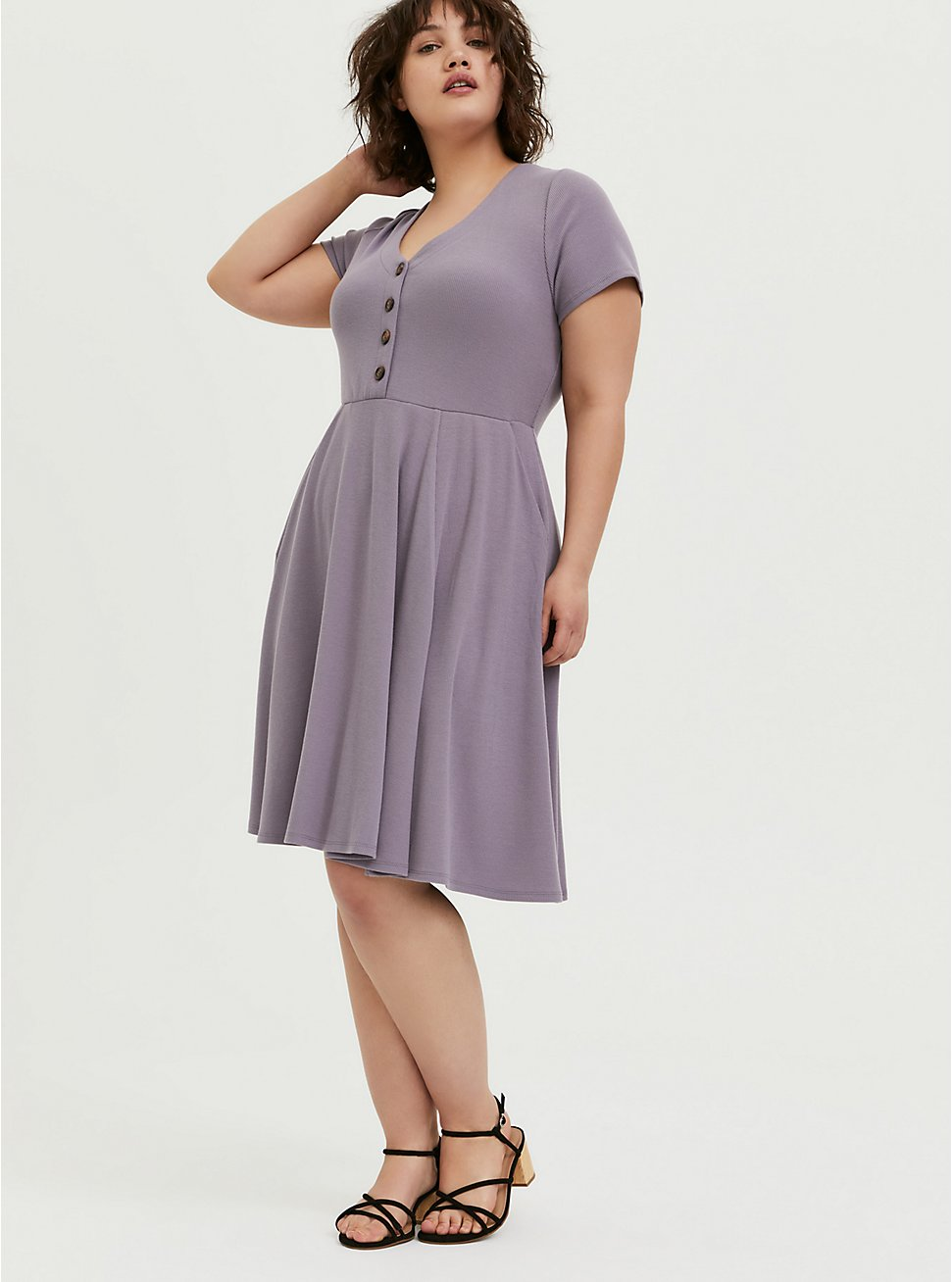 Plus Size Purple Rib Button Front Skater Dress, GRAY RIDGE, hi-res