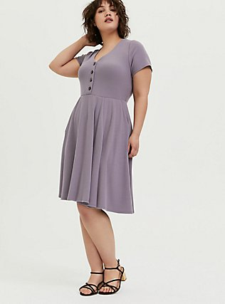 Purple Rib Button Front Skater Dress, GRAY RIDGE, hi-res