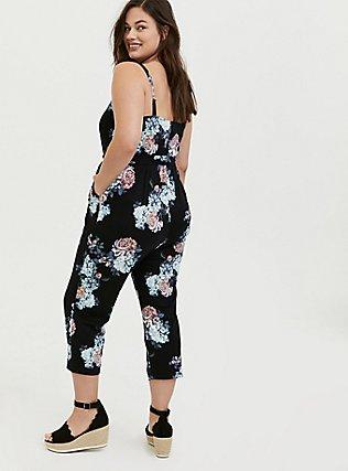 Plus Size Black Floral Premium Ponte Self Tie Strapless Jumpsuit, FLORALS-BLACK, alternate