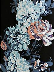 Black Floral Premium Ponte Self Tie Strapless Jumpsuit, FLORALS-BLACK, alternate