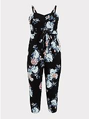 Black Floral Premium Ponte Self Tie Strapless Jumpsuit, FLORALS-BLACK, hi-res