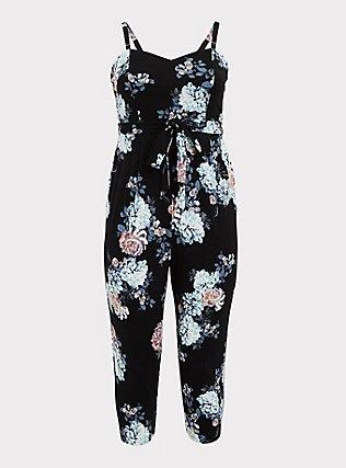 Plus Size Black Floral Premium Ponte Self Tie Strapless Jumpsuit, FLORALS-BLACK, flat