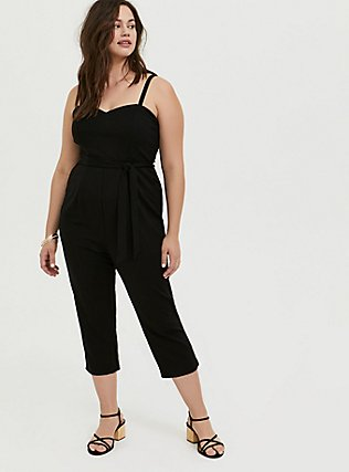 Plus Size Black Premium Ponte Self Tie Strapless Jumpsuit, DEEP BLACK, alternate