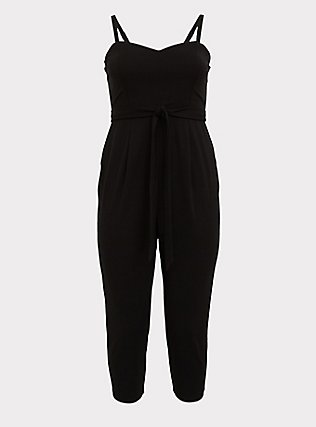 Plus Size Black Premium Ponte Self Tie Strapless Jumpsuit, DEEP BLACK, flat