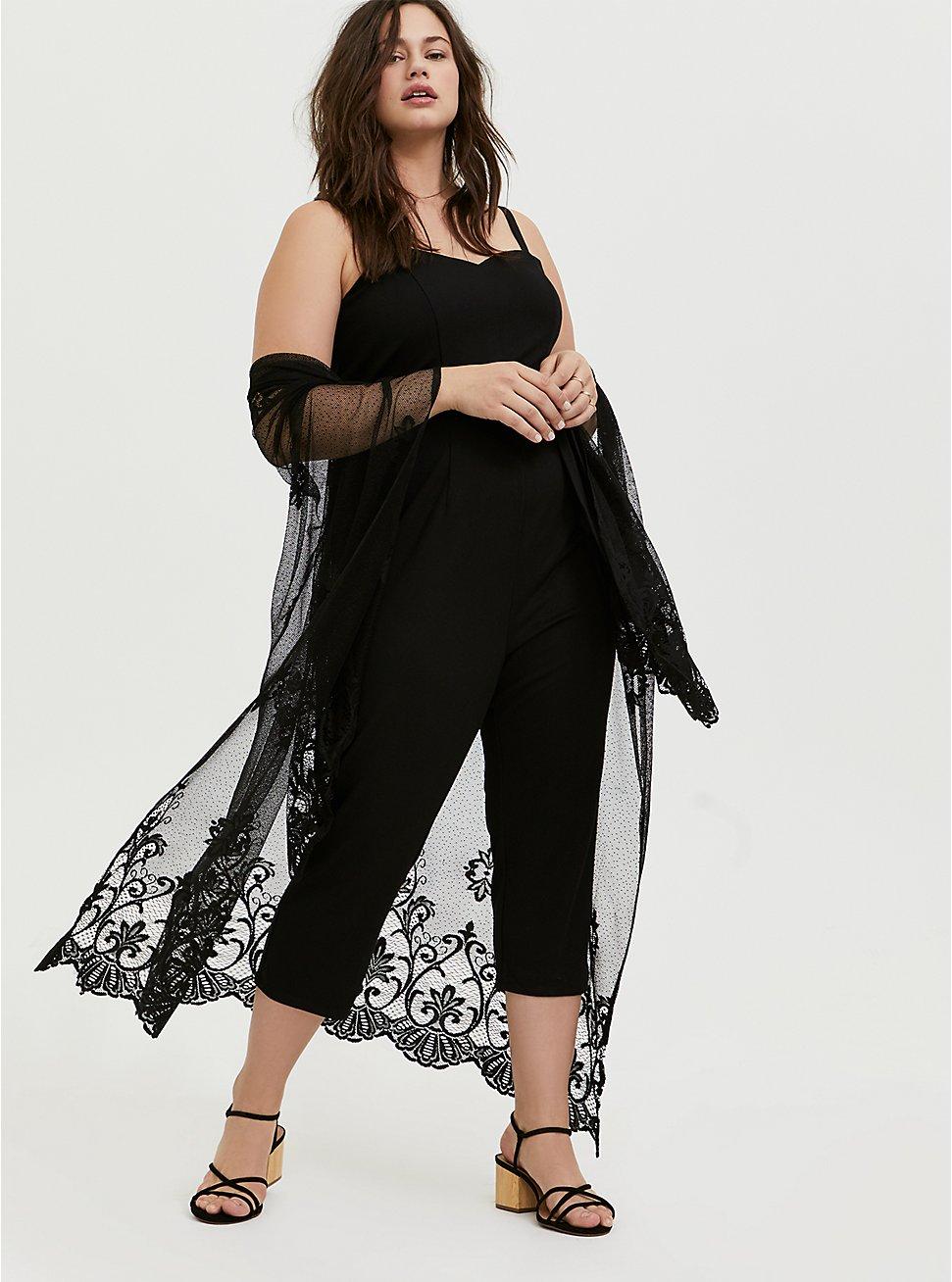 Plus Size Black Premium Ponte Self Tie Strapless Jumpsuit, DEEP BLACK, hi-res