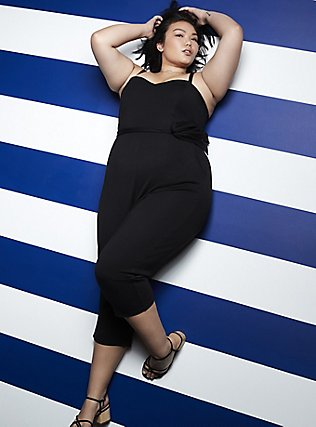 Plus Size Black Premium Ponte Self Tie Strapless Jumpsuit, DEEP BLACK, pdped