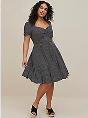 Polka Dot Challis Skater Dress, DOTS - BLACK, alternate