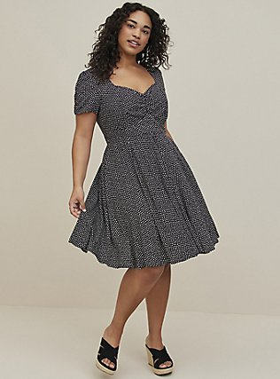 Plus Size Polka Dot Challis Skater Dress, DOTS - BLACK, alternate