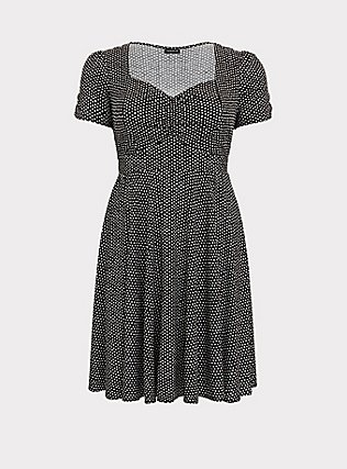 Plus Size Polka Dot Challis Skater Dress, DOTS - BLACK, flat