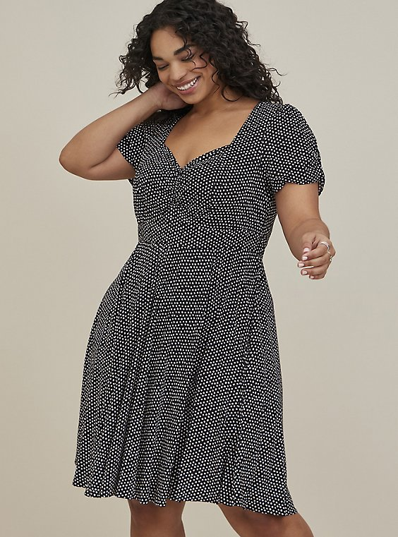 Polka Dot Challis Skater Dress, , hi-res