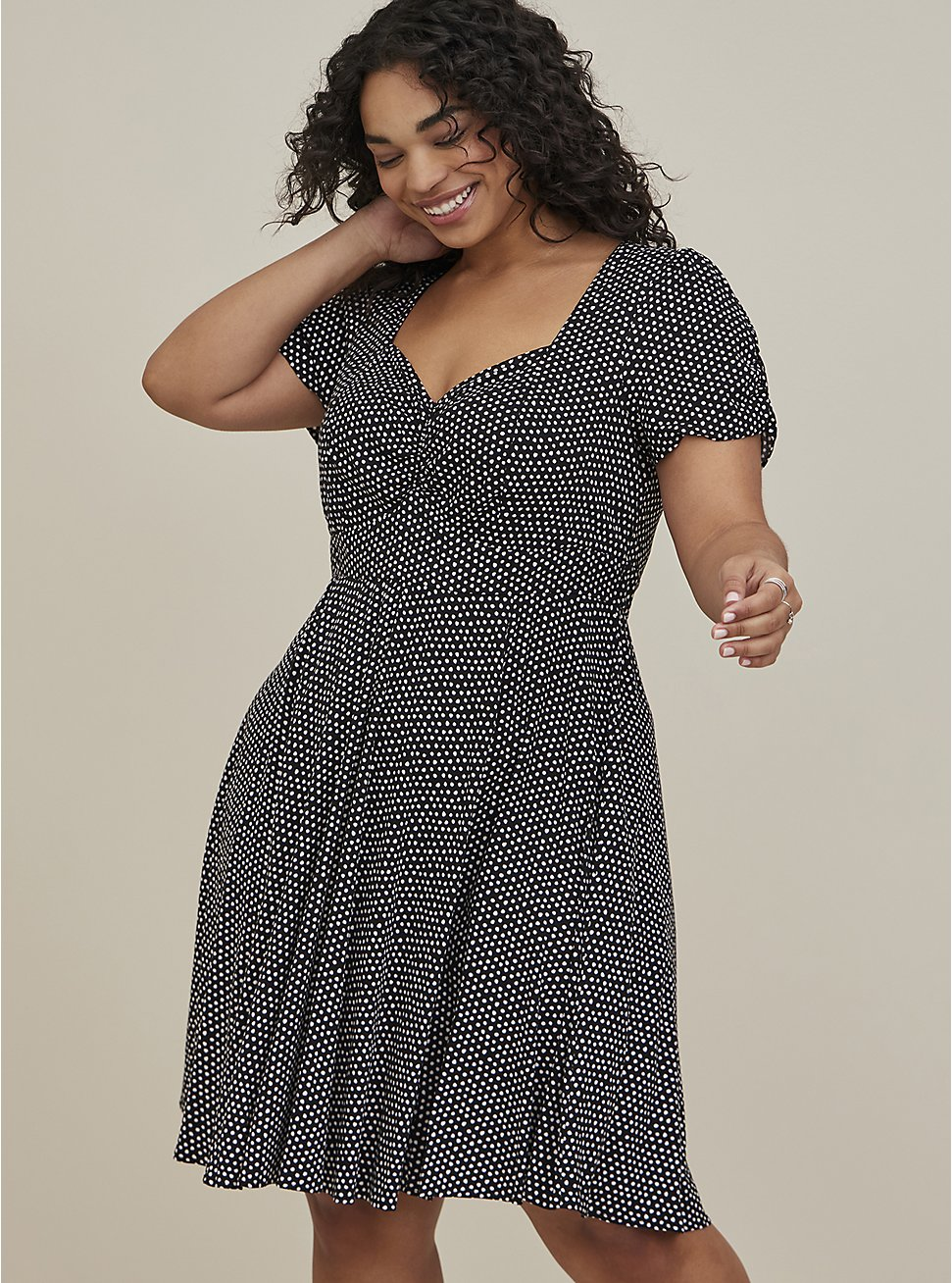 Polka Dot Challis Skater Dress, DOTS - BLACK, hi-res