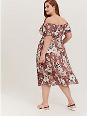Plus Size Rose Pink Floral Challis Off Shoulder Midi Dress, FLORALS-PINK, alternate