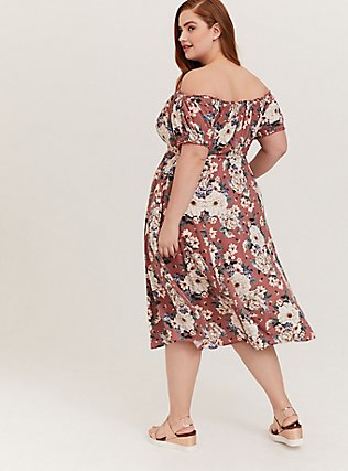 Rose Pink Floral Challis Off Shoulder Midi Dress, FLORALS-PINK, alternate