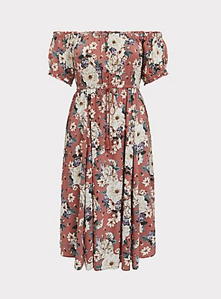 Rose Pink Floral Challis Off Shoulder Midi Dress, FLORALS-PINK, flat