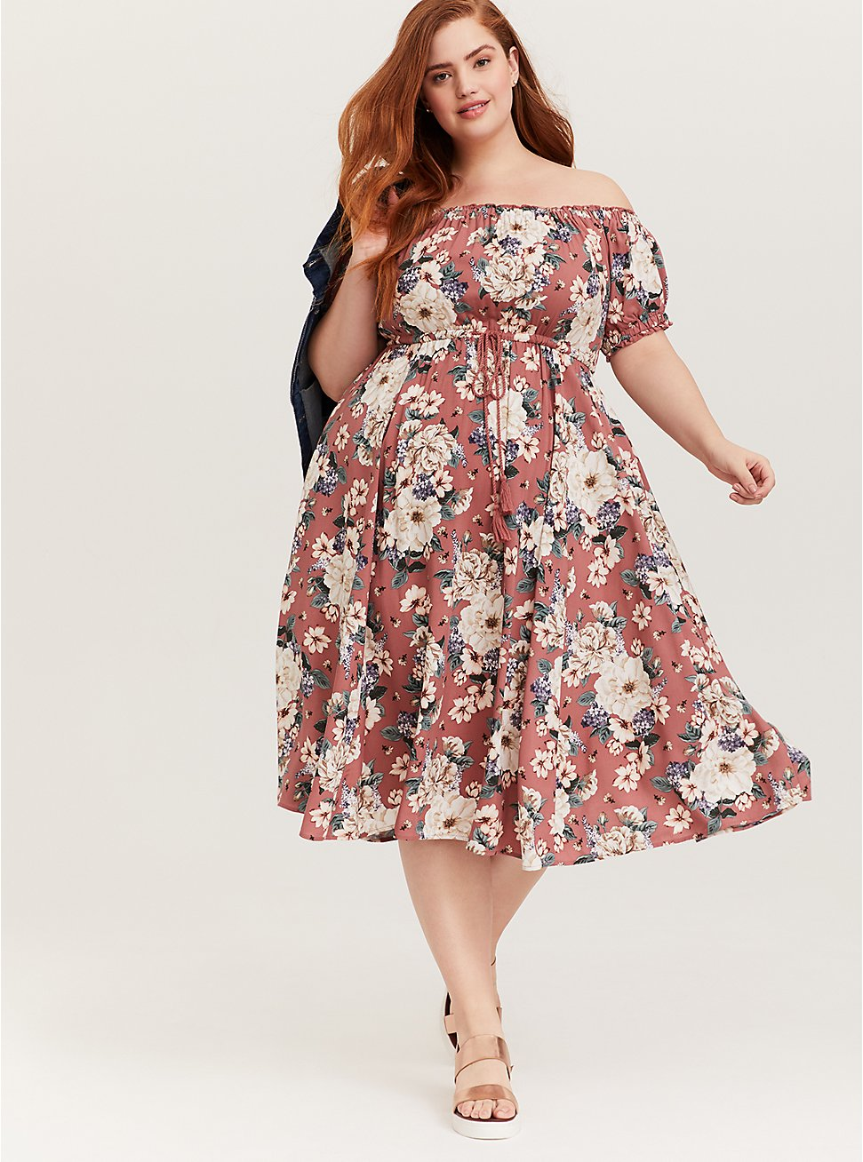 Plus Size Rose Pink Floral Challis Off Shoulder Midi Dress, FLORALS-PINK, hi-res