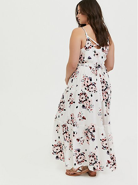 Ivory Floral Challis Tie Back Tiered Maxi Dress, FLORALS-WHITE, alternate
