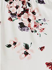 Ivory Floral Challis Tie Back Tiered Maxi Dress, FLORALS-WHITE, alternate