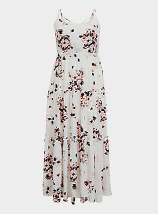 Ivory Floral Challis Tie Back Tiered Maxi Dress, FLORALS-WHITE, flat