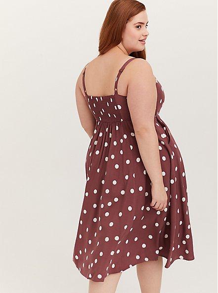Plus Size Walnut Polka Dot Challis Button Front Midi Dress, DOTS - BROWN, alternate