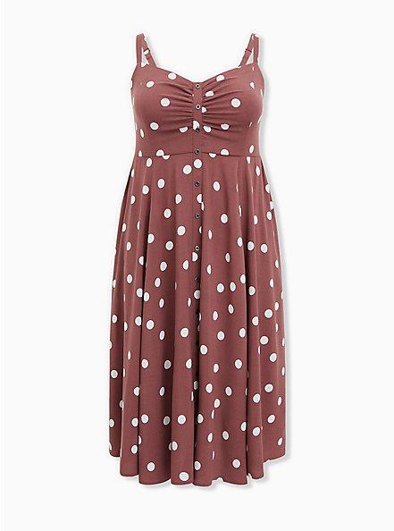 Plus Size Walnut Polka Dot Challis Button Front Midi Dress, DOTS - BROWN, hi-res