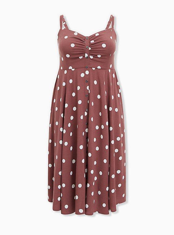 Plus Size Walnut Polka Dot Challis Button Front Midi Dress, DOTS - BROWN, ls