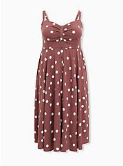 Plus Size Walnut Polka Dot Challis Button Front Midi Dress, DOTS - BROWN, hi-res