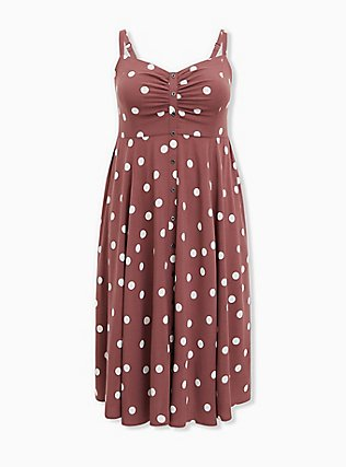 Walnut Polka Dot Challis Button Front Midi Dress, DOTS - BROWN, ls