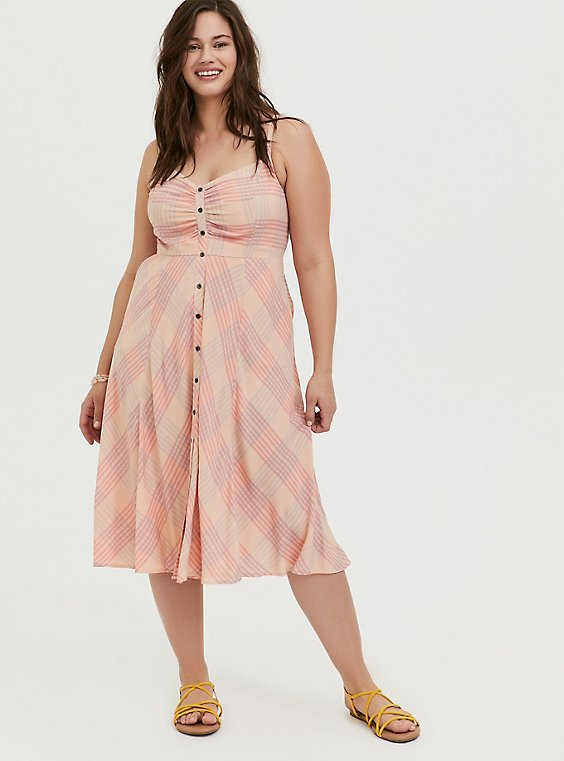 Peach Pink Plaid Challis Button Front Midi Dress, , hi-res