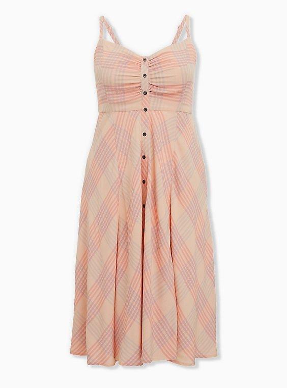 Plus Size Peach Plaid Challis Button Front Midi Dress, PLAID - PINK, ls
